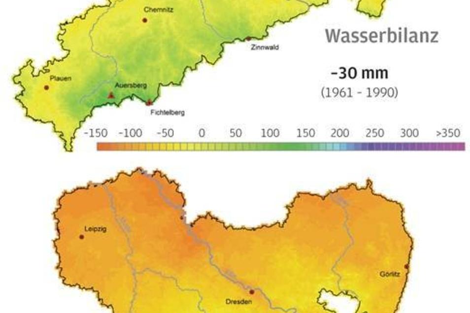 Trockenes Frühjahr Nordsachsen und die Lausitz trocknen aus. Zumindest im Frühjahr. Schon immer waren die Monate April bis Juni  relativ trocken. Die Wasserbilanz misst den Regen und  berücksichtigt auch, wie viel Wasser verdunstet. Bei höheren Temperaturen ist das natürlich mehr. 30 Liter Wasser je Quadratmeter fehlten hier schon damals, inzwischen hat sich dies mehr als verdoppelt. Fazit: Der Landwirtschaft fehlt in der Wachstumsphase massiv Wasser. Bewässerungen werden großflächig nötig.