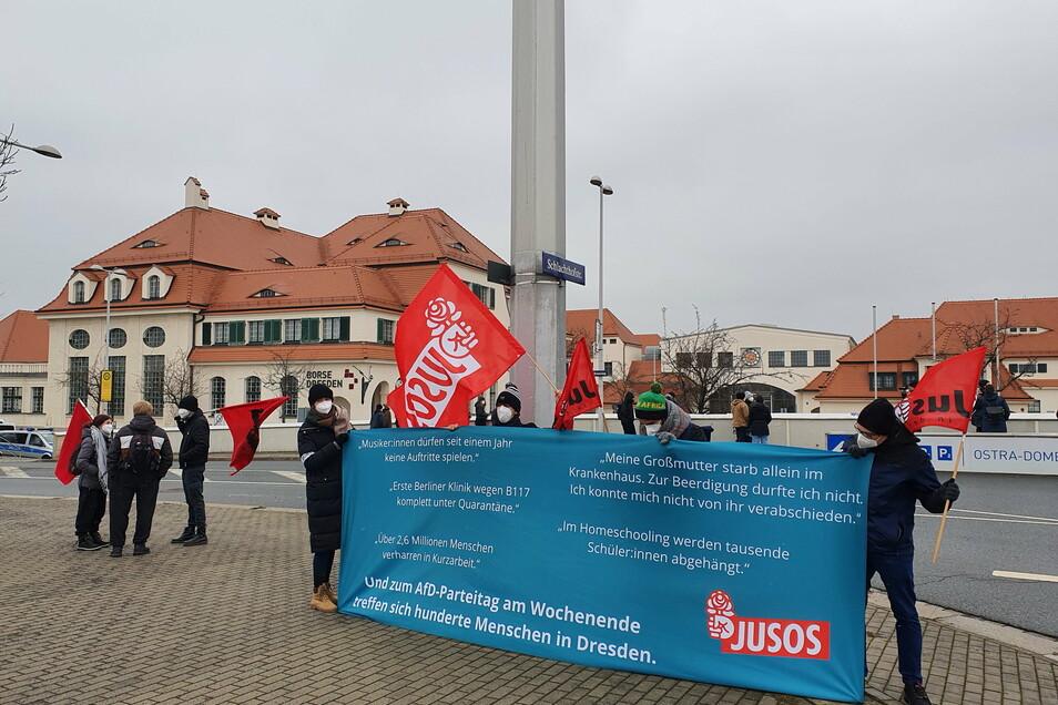 Vor dem Messegelände begleiteten etwa 20 Demonstranten die Ankunft der AfD-Politiker.
