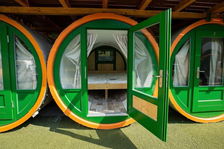 Schlafen in einem Abwasserrohr? Auf dem Campingplatz am Treidlerweg in Königstein ist das möglich – und bislang einzigartig in ganz Sachsen.