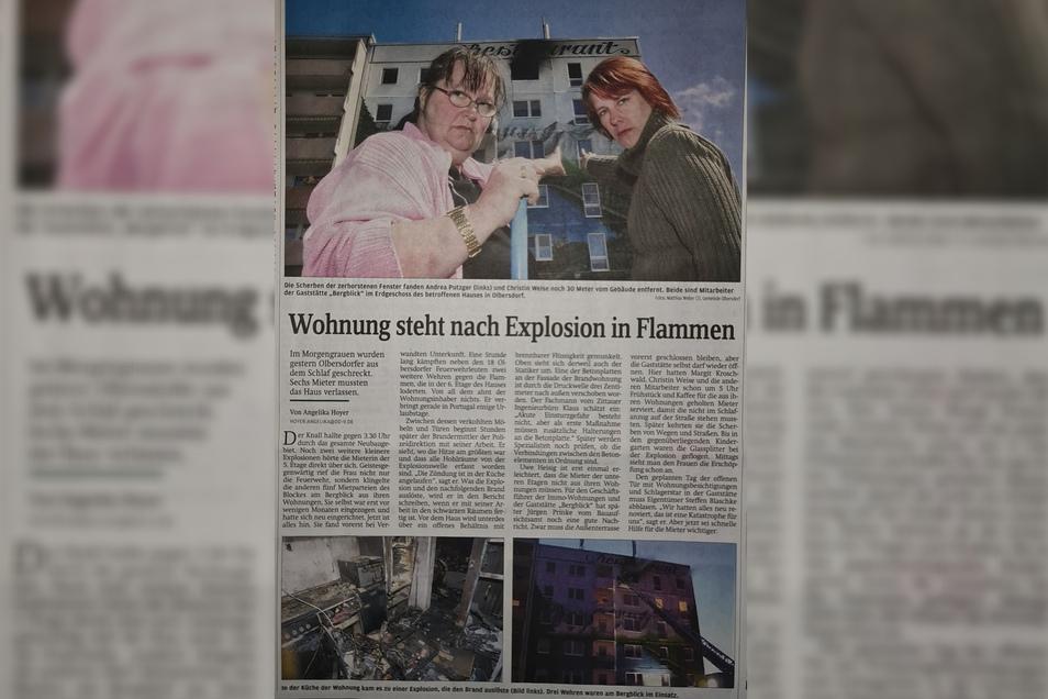 So berichtete die SZ vor zwölf Jahren über die Explosion in Olbersdorf.
