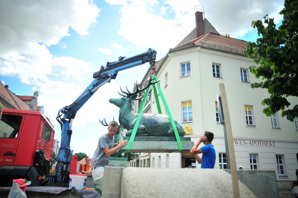 Der Dianabrunnen hat seine Hirsche wieder. Anfang Juli brachten Christof Bach und Max Witschel von der Firma Witschel und Lukas Fleer von der Firma Griesche die Hirsche des Dianabrunnens wieder an ihren Platz.
