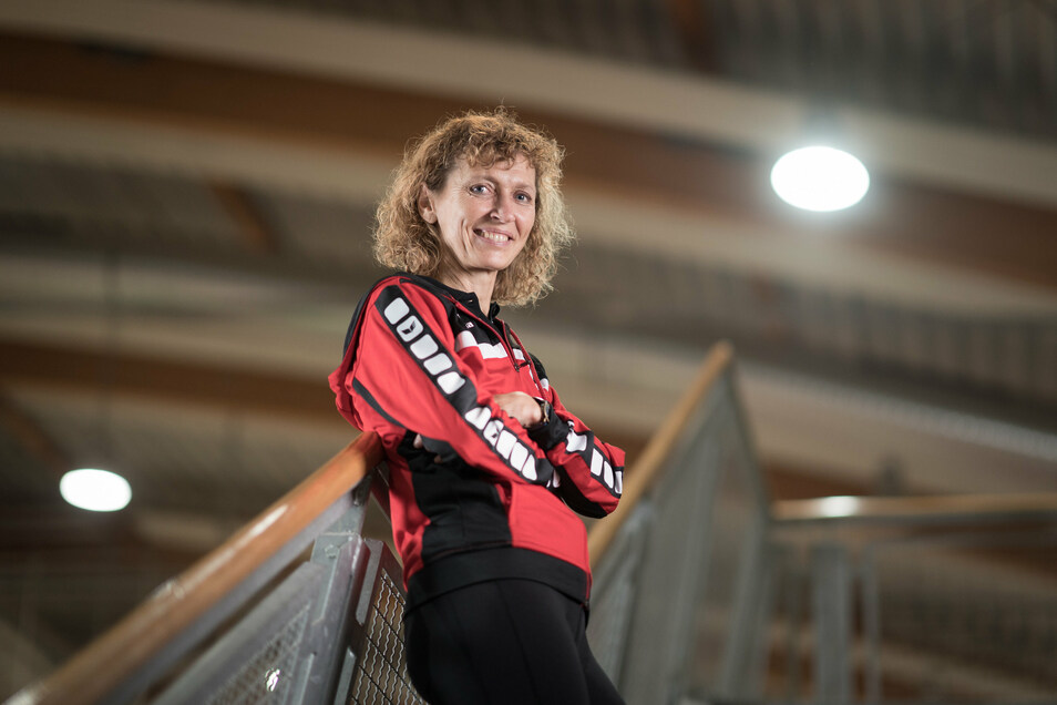 Siebenkampf-Weltmeisterin (Masters) Angela Müller.