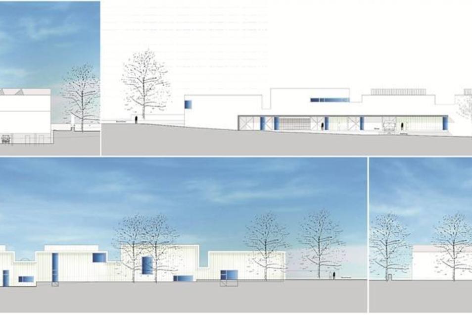 So sollen die Werkstätten gebaut werden: links oben – die Ansicht von der Paradiesstraße; rechts oben – die Südseite, dem jetzigen Parkplatz; links unten – die Nordseite vom Hügel betrachtet; rechts unten – die Ansicht von der Schuchstraße aus gesehen.Ani