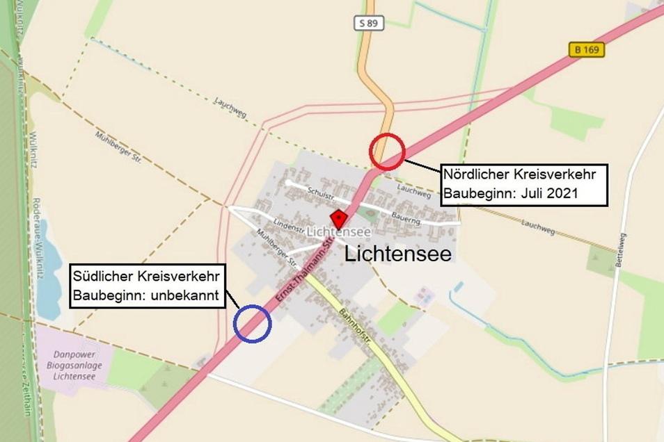 Der Kreisverkehr nördlich von Lichtensee (roter Kreis) wird bald gebaut. Der südliche Kreisverkehr könnte nach derzeitigen Vorüberlegungen an dieser Stelle (blauer Kreis) entstehen.