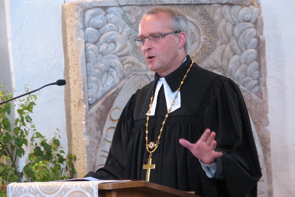Bischof Carsten Rentzing im Juni 2017 im Dom zu Wurzen. Er ist seit 2015 Landesbischof der evangelisch-lutherischen Landeskirche Sachsens.