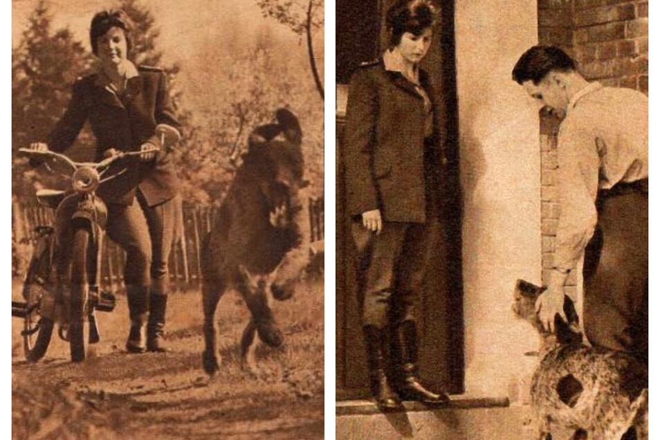 """Gertraud Trench mit Moped und Hund """"Lump"""" in ihrem Revier (linkes Bild). 1961 war sie mit ihrem Ehemann, den sie auf der Forstfachschule kennengelernt hatte, zu Hause im Forsthaus Dunkelhäuser bei Rothenburg."""