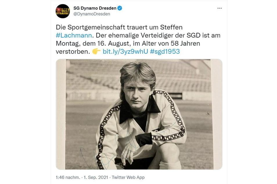 Die traurige Nachricht von Dynamo bei Twitter: Ex-Spieler Steffen Lachmann ist tot.