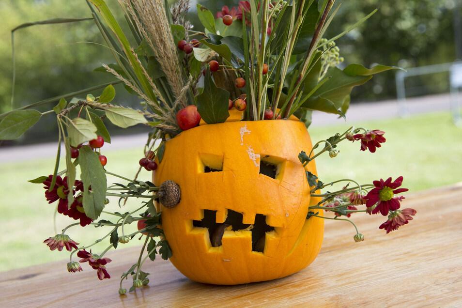 Hingucker an Halloween: Ein ausgehöhlter Kürbis lässt sich gut als Vase für Blumen nutzen.