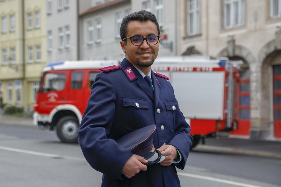 Der Student aus Marokko engagiert sich bei der Freiwilligen Feuerwehr Zittau.