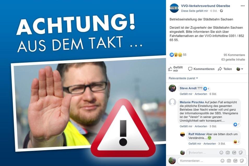 Der VVO informierte auf Facebook über die Einstellung des Zugbetriebs der Städtebahn.