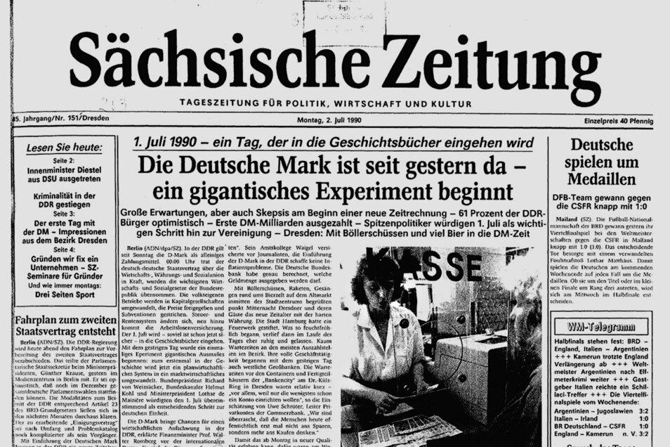 1990 wurde auf der Titelseite die Einführung der D-Mark abgehandelt.
