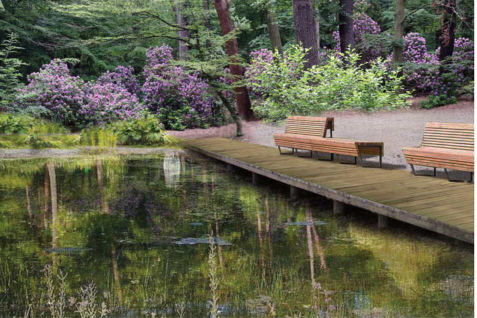Ein Holzsteg mit Sitzbänken soll zum Verweilen an Schwarzes Teich einladen. Visualisierung