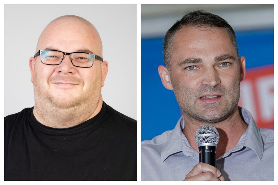 Die Staatsanwaltschaft Görlitz will gegen Mirko Schultze (l., Linke) und Sebastian Wippel (AfD) ermitteln.