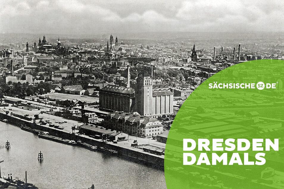 Getreide aus Amerika und überseeische Edelhölzer: Der Dresdner Alberthafen um 1925. Quelle: Sammlung Holger Naumann