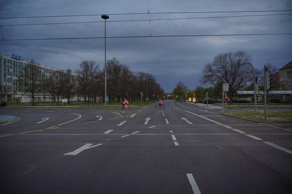 Leere Straßen in der Corona-Krise: Pirnaischer Platz