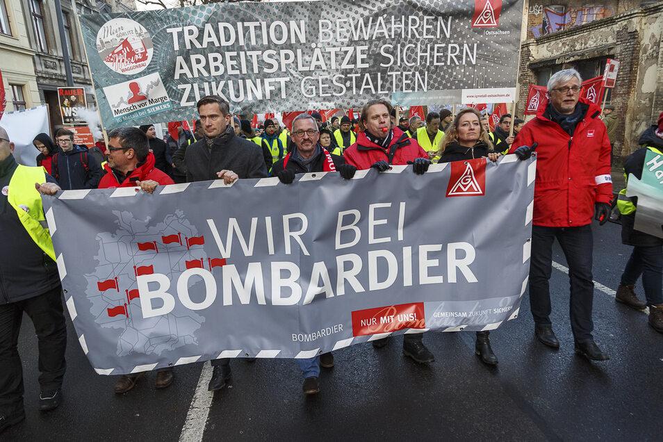 Schon 2018 ging es um den Erhalt der Bombardier-Arbeitsplätze, hier ein Demonstrationszug vom Waggonbau zum Brautwiesenplatz in Görlitz.