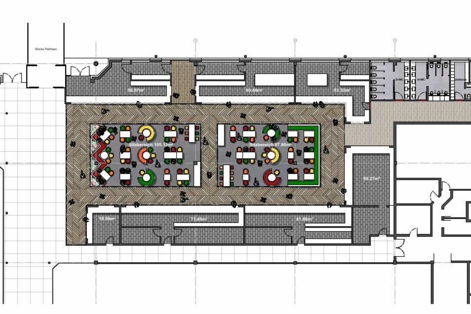 Grundriss des geplanten Foodcourt