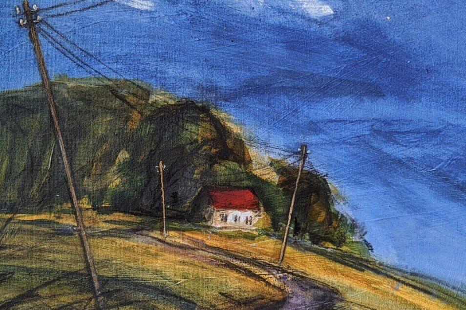 André Uhlig: Blaue Stunde in Batzdorf 3, Acryl/Kohle auf Leinwand, 30 x 40, 2019.