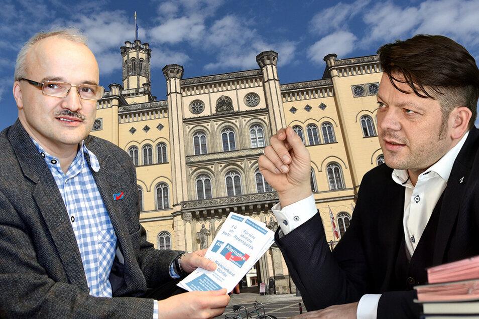 Die AfD-Stadtratsfraktion unter Vorsitz von Jörg Domsgen (links) hatte eine Beschwerde gegen Oberbürgermeister Thomas Zenker (Zkm) eingereicht.