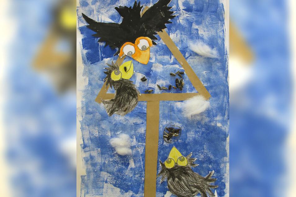 """Maru Schliebe malte das Bild """"Vögel im Winter"""". Maru besucht die Klasse 1b und hat mit Schwammtechnik gearbeitet, collagiert, gezeichnet und Temperamalerei versucht. """"Mein Traum von kalten Wintertagen mit viel Schnee und dicken, fetten Schneeflocken. Ich"""