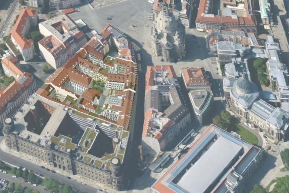 Diese Montage zeigt, wie das Quartier Hoym direkt hinter der Polizeidirektion aussehen könnte.