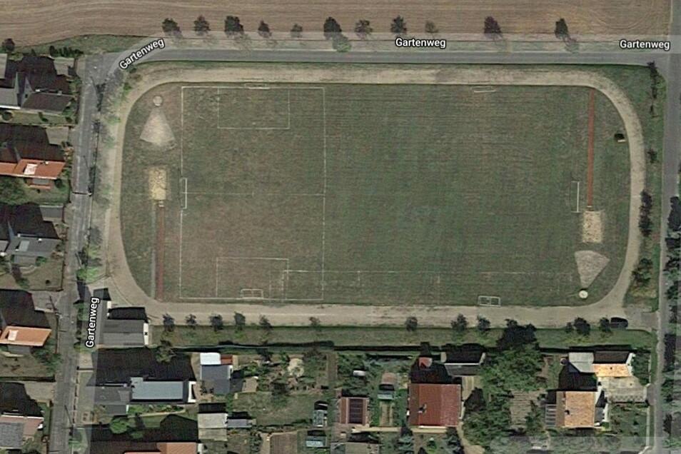 Der Sportplatz aus der Luft gesehen.