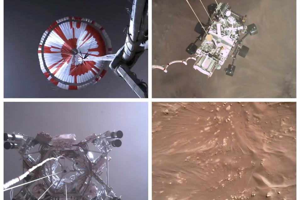 Der US-Rover «Perseverance» hat erste Videos von seiner Landung und Audio-Aufnahmen vom Mars zur Erde geschickt.