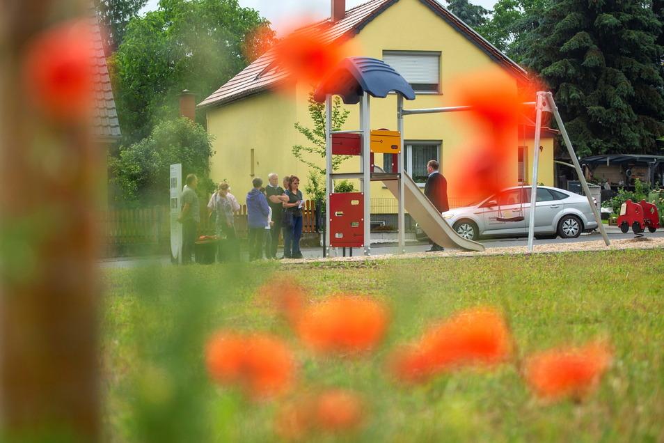 Einweihung eines Spielplatzes am ehemaligen Standort Bergbrauerei in Großenhain-Zschieschen.