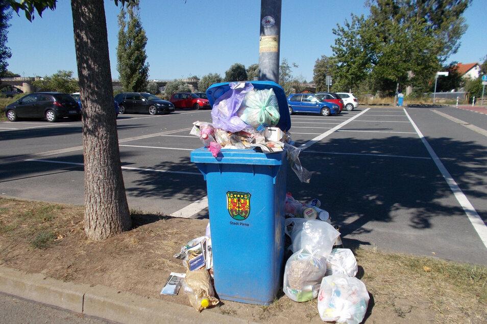 Am Freitagmittag quollen die Mülleimer auf dem Elbeparkplatz in Copitz über.