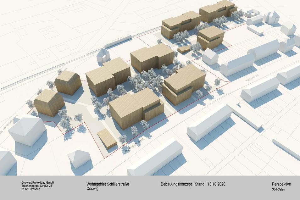 Die hellbraunen Kuben im Modell zeigen, wie die Häuser der Schillerhöfe einmal aussehen sollen. Das Projekt soll rund 50 Millionen Euro kosten.