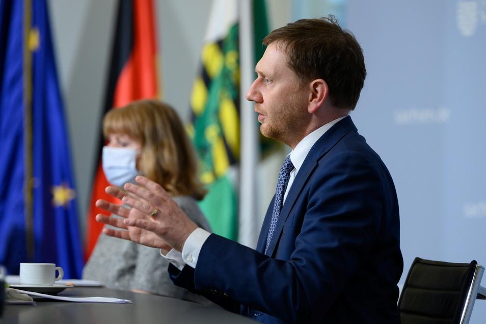 Sachsens Ministerpräsident Michael Kretschmer und Gesundheitsministerin Petra Köpping stehen in der Corona-Pandemie besonders im Fokus.