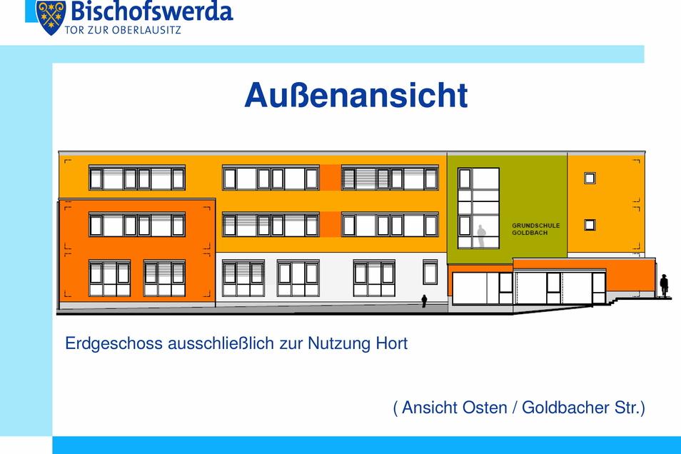 So soll die neue Grundschule in Goldbach aussehen.