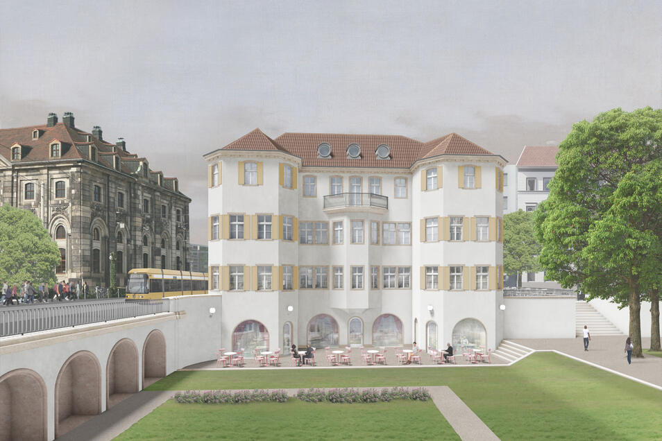 Für den Neubau des Dresdner Narrenhäusels gibt es drei verschiedene Entwürfe. Dieser kommt vom Berliner Architekten Pontus Falk.