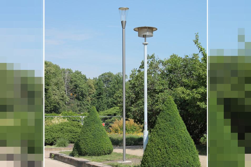 Die alten Lampen aus DDR-Zeiten (re.) werden abgebaut und durch schlankere Lampen ersetzt.