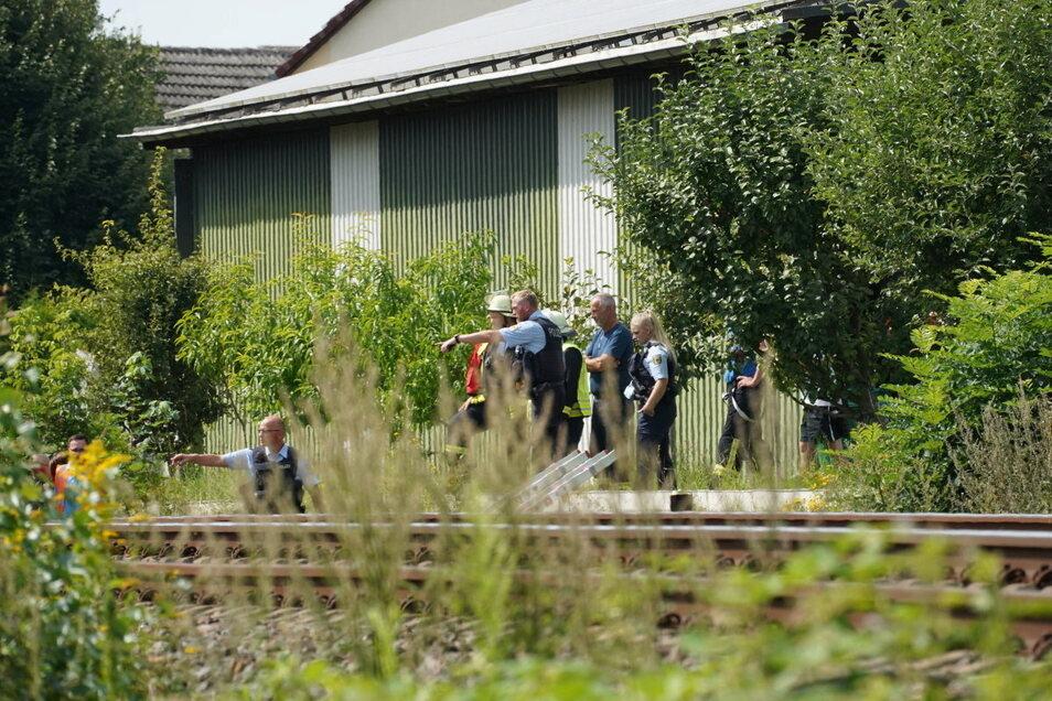 Kameraden der Freiwilligen Feuerwehr Großharthau haben laut Angaben der Bundespolizei die toten Tiere aus dem Gleisbett geborgen.