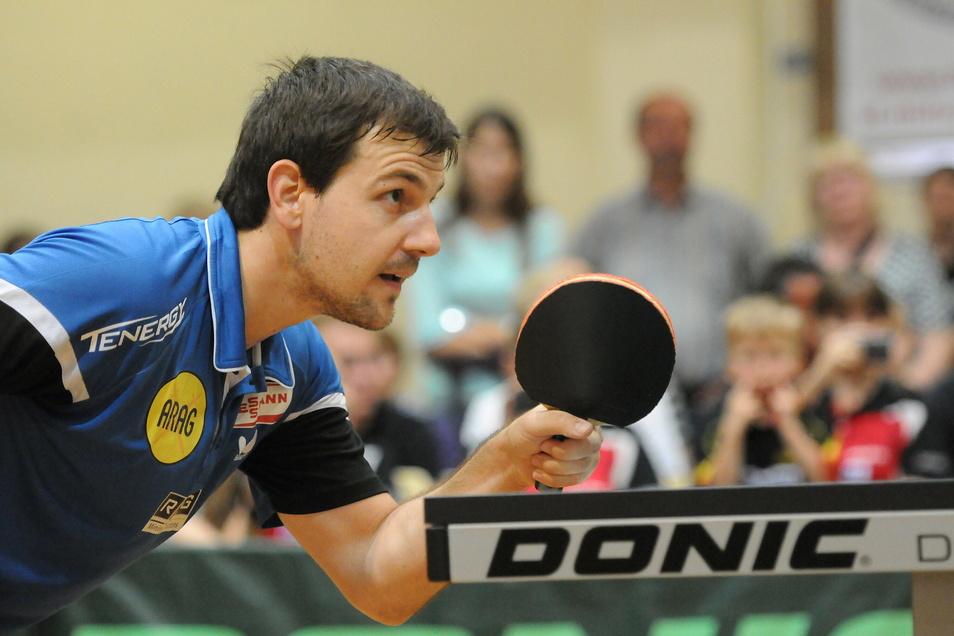 Tischtennisprofi Timo Boll beim Super Cup in der Turn- und Festhalle Neusalza-Spremberg. Rund 500 Zuschauer fieberten damals vor Ort mit.