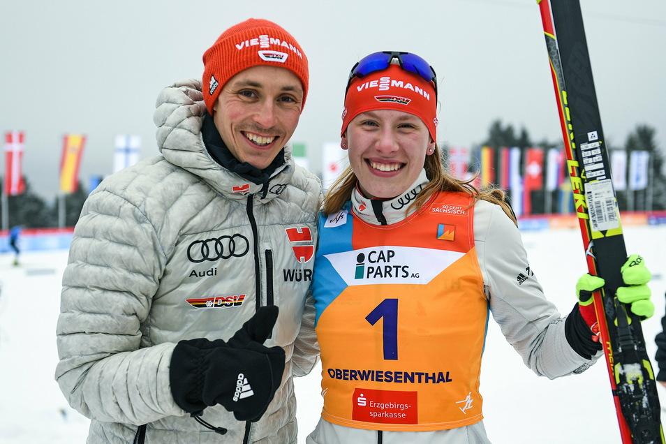 Bei den Junioren-Weltmeisterschaften in Oberwiesenthal Anfang März traf Jenny Nowak ihr großes Vorbild, Dreifach-Olympiasieger Eric Frenzel. Er ist der erfolgreichste deutsche Wintersportler aller Zeiten.