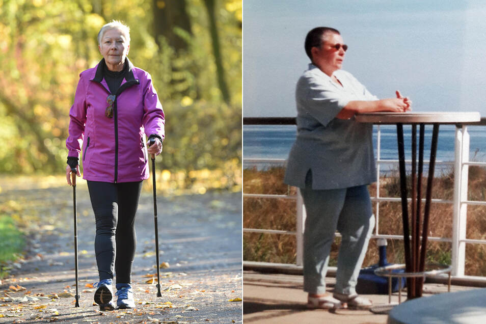 Margitta Zellmer aus Chemnitz walkt täglich acht bis zehn Kilometer. Kaum zu glauben, dass sie vor ein paar Jahren noch so wie auf dem rechten Foto aussah.