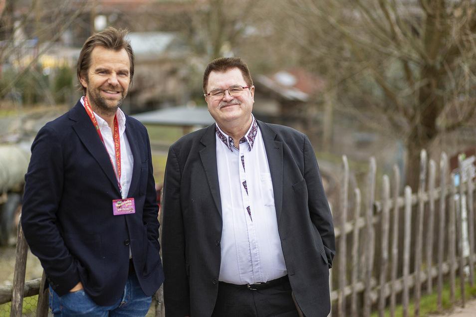 Karls-Chef Robert Dahl (l.) und der Bannewitzer Bürgermeister Christoph Fröse wollen Karls Erlebnisdorf nach Bannewitz holen.