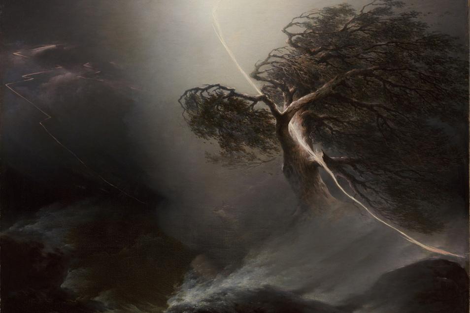 """Gewitterstimmung über Russland. Im 19. Jahrhundert war das Wetter auch nicht besser. 1842 malte Maxim Worobjow mit Ölfarben diese Weltuntergangs-Szenerie und nannte sie schlicht """"Vom Blitz gespaltene Eiche (Unwetter)""""."""