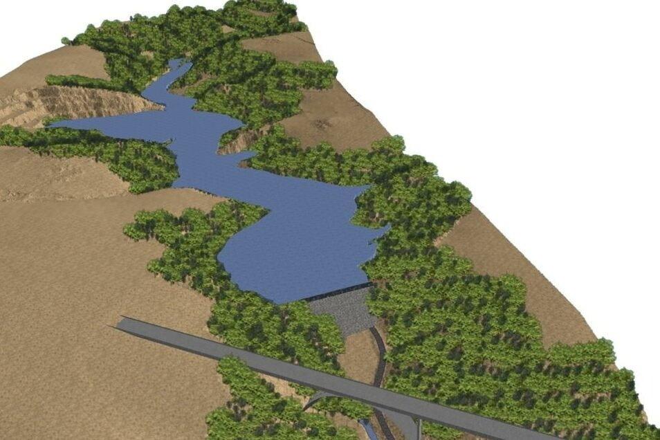 So könnte der Staudamm mit dem Rückhaltebecken im Seidewitztal nahe Liebstadt aussehen. Im Vordergrund ist die Brücke der Autobahn 17 zu sehen. © Visualisierung: LTV