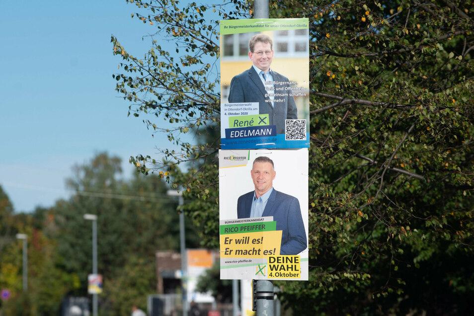 Während des Wahlkampfes hatten die Kandidaten in Ottendorf zahlreiche Plakate aufgehängt. Rico Pfeiffer holte schließlich die meisten Stimmen. Auf Platz zwei kam Rene Edelmann.