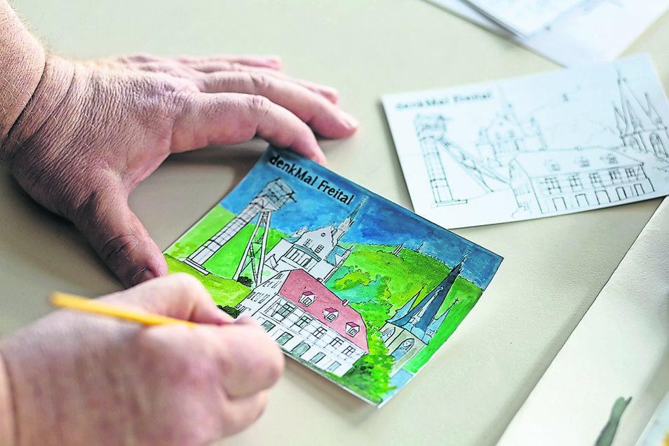 So sieht die soeben erschienene Postkarte aus – im Original- und im teilweise schon ausgemalten Zustand.
