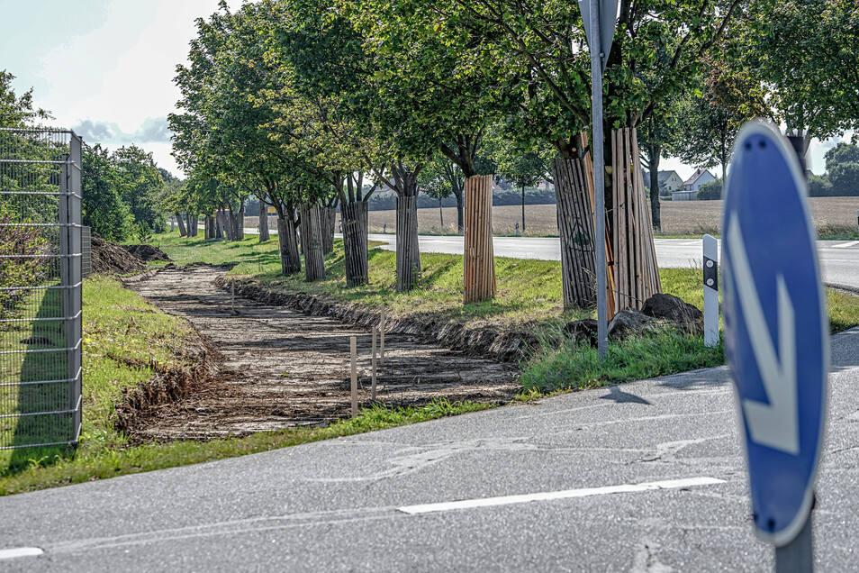 Den neuen Radweg kann man schon erahnen. Ab Montag geht es mit den Arbeiten in Bloaschütz richtig los. Gebuddelt wird zunächst am Gewerbegebiet.