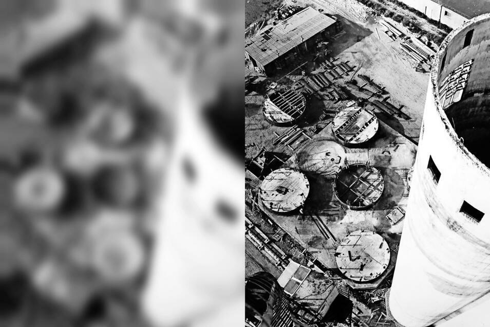 Diese Perspektive bot sich dem Fotografen 1977 vom Kranausleger aus 60 Meter Höhe. Rechts ist einer der rohbaufertigen Silotürme zu sehen.