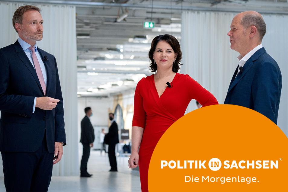 Sind das die Köpfe der künftigen Bundesregierung? Christian Lindner (FDP), Annalena Baerbock (Grüne) und Olaf Scholz (SPD) - hier ein Foto aus dem Juni - verhandeln über eine Ampel-Koalition.