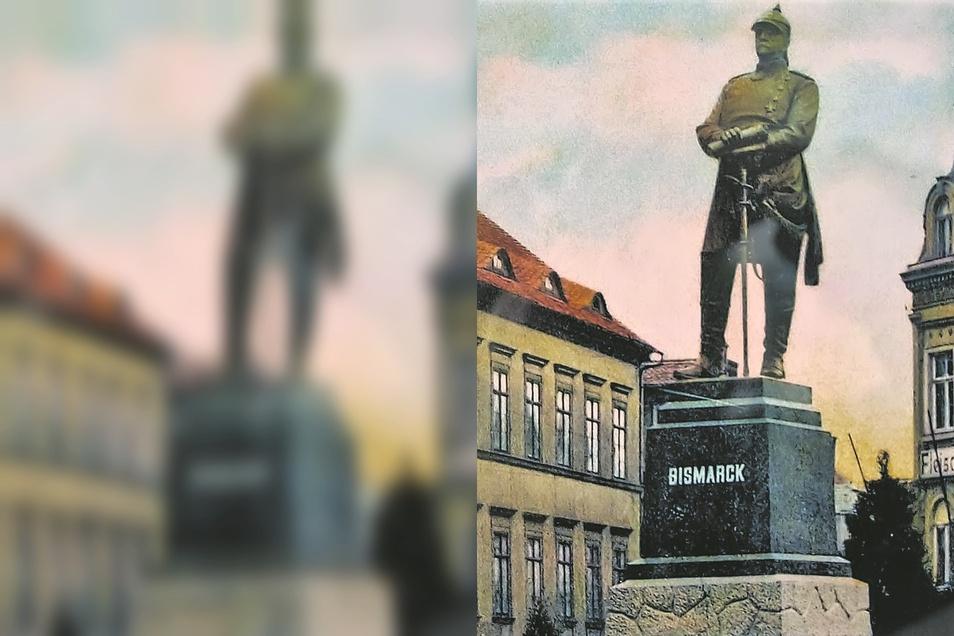 So sah das Löbauer Bismarck-Denkmal aus. 1956 wurden Teile des Sockels zu einem Denkmal für die Opfer des Faschismus umgestaltet.