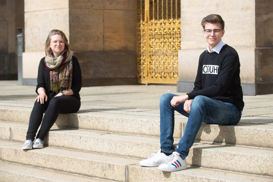 Sie sprechen in der Corona-Krise für Dresdens Schüler: Jack Müller ist 17 Jahre alt und besucht die elfte Klasse eines Gymnasiums. Florentine Salomon ist ebenfalls 17 Jahre alt und besucht die zwölfte Klasse eines Berufsgymnasiums.