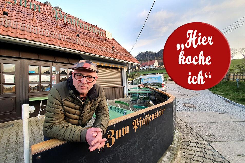 """Gastwirt Bernhard Kuste vor seinem Gasthaus """"Zum Pfaffenstein""""."""