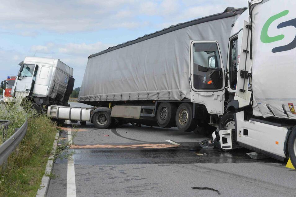 An dem Unfall auf der B178 waren zwei Lkw beteiligt.